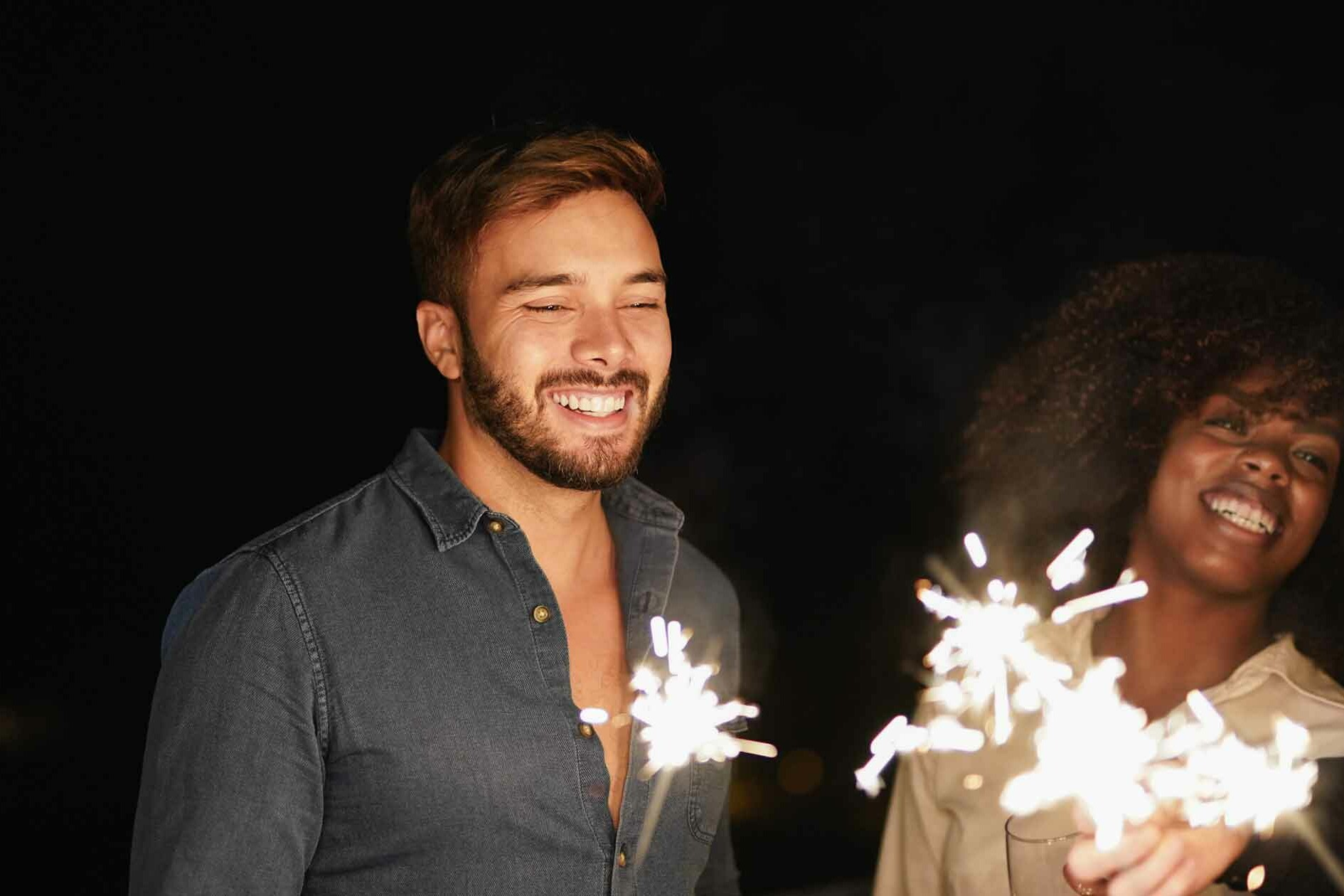 Couple with Sparklers on NYE - Reflect on Your Life