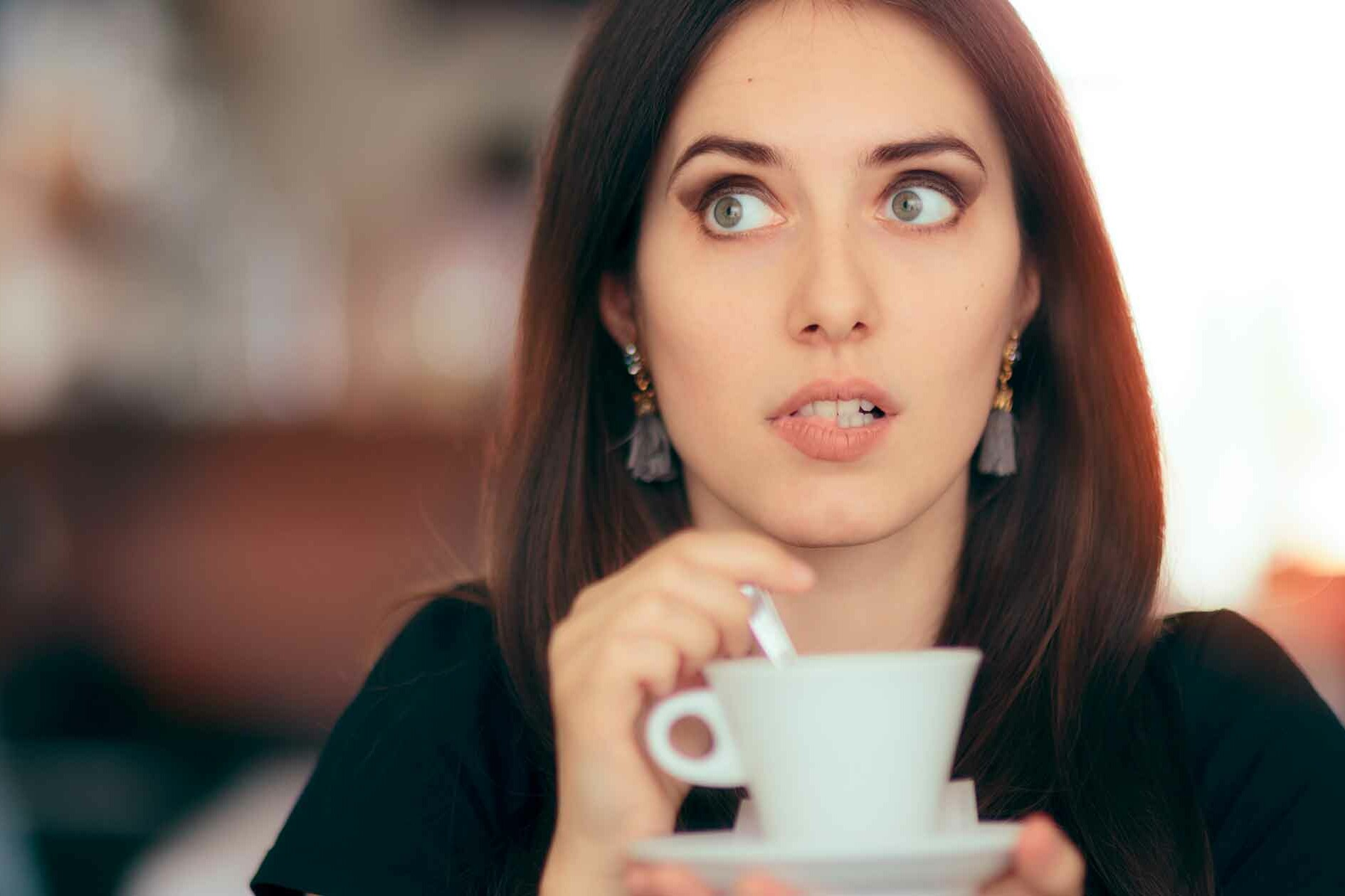 Woman Surprised by Ghost Over Coffee - Haunting