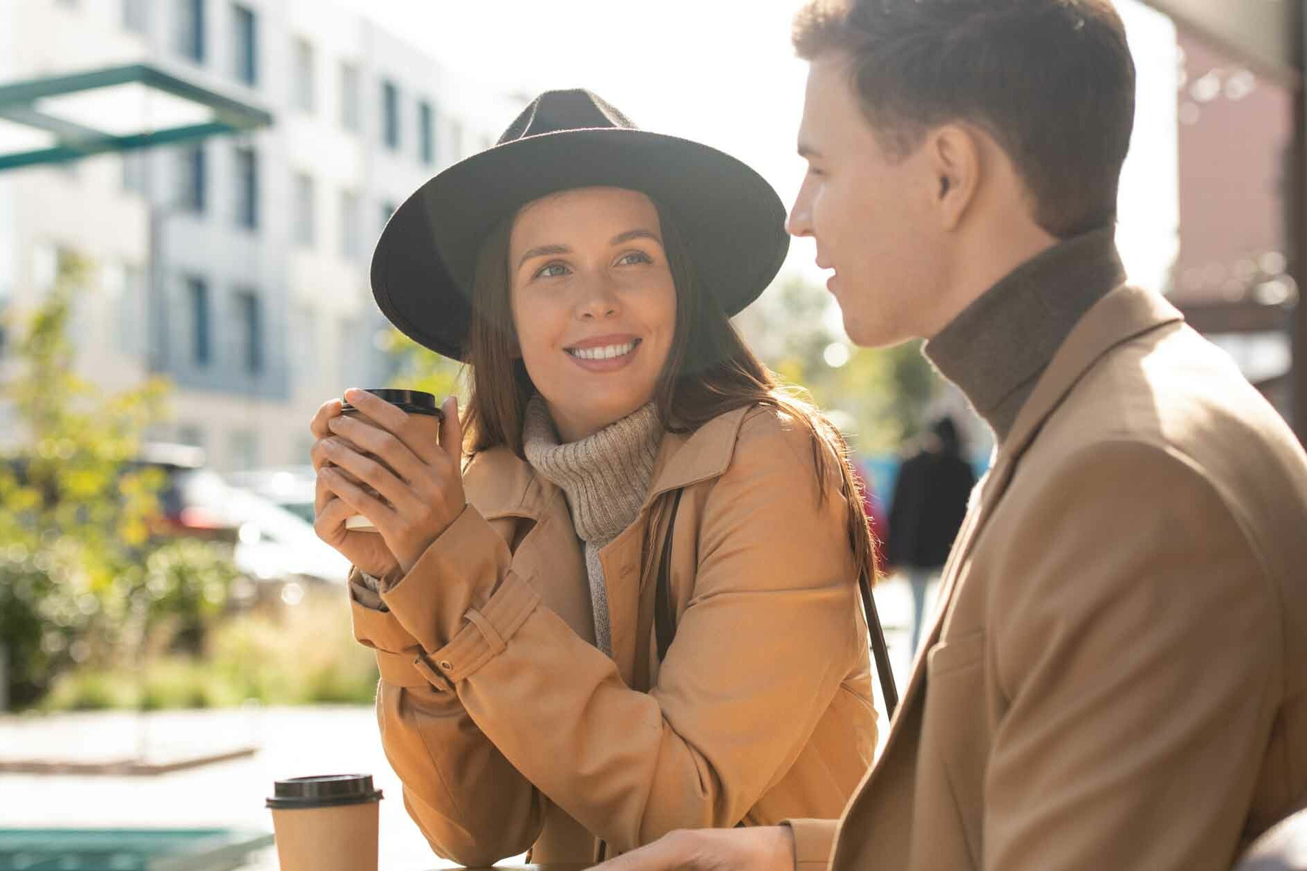 Couple on Coffee Date Not Oversharing