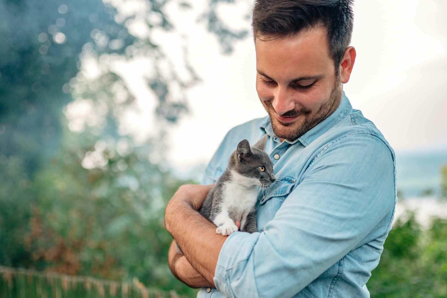 Man Holds Kitten after Feeling Lonely
